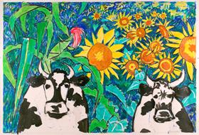 Schomer Lichtner (American, 1905-2006) Untitled [Cows with Sunflowers], 1992 Acrylic on canvas 34 x 50 inches Collection of the Paine Art Center and Gardens; Gift of the Kohler Foundation, Inc.  2009.1.13