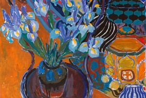 Ruth Grotenrath (American, 1912-1988) Untitled [Still Life with Irises], 1965 Casein on masonite 30 x 24 inches Collection of the Paine Art Center and Gardens; Gift of the Kohler Foundation, Inc.  2009.1.7