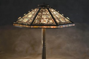 Octagonal Leaded Glass and Mosaic Table Lamp