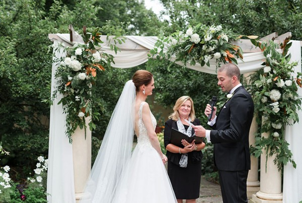 A bride and groom saying their vows