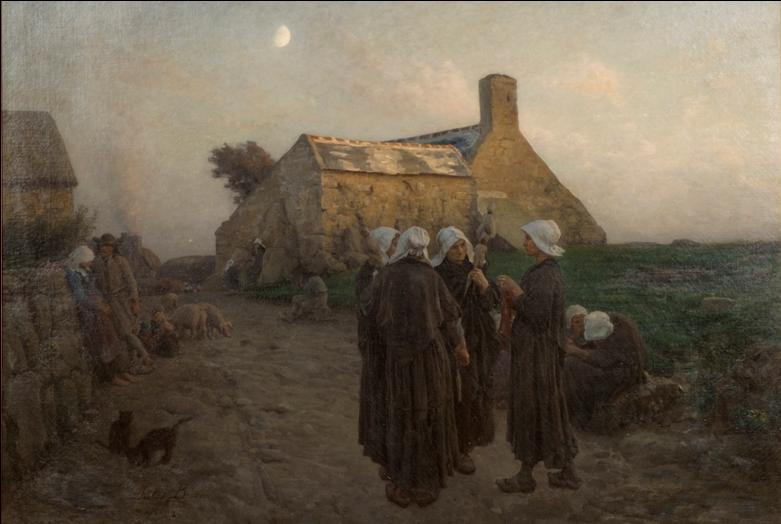 Painting of a group of woman near a stone house