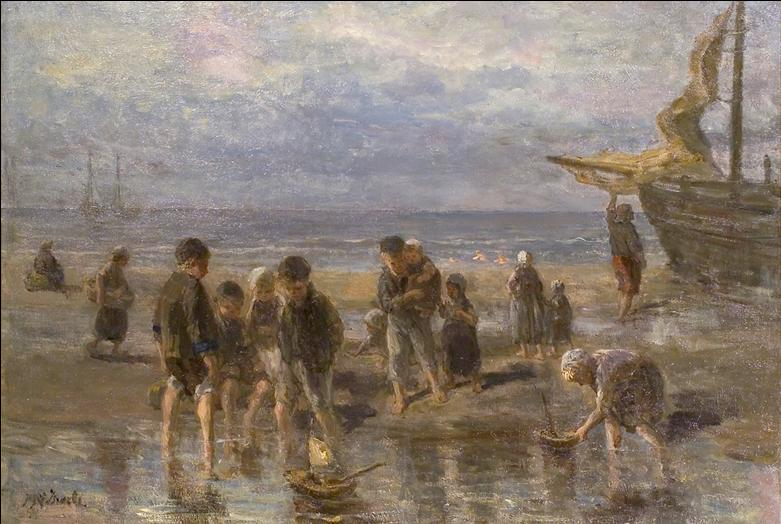 Painting of people on a beach