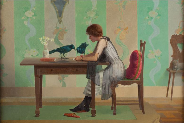 A painting of a woman at a desk with crows