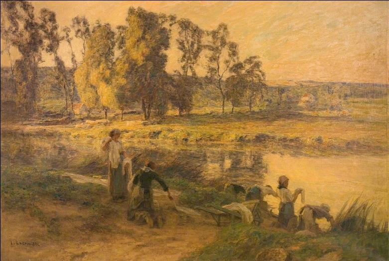 Painting of women washing clothes in the river