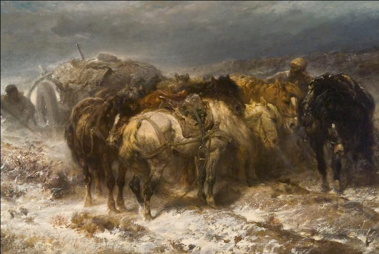 Painting of men with horses and a wagon