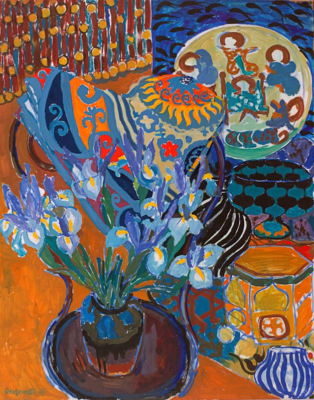 A colorful painting of irises