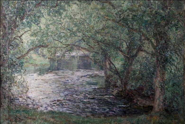 Painting of trees over a stream