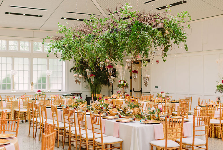Green plants hanging over formally set tables