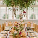 A colorful set table