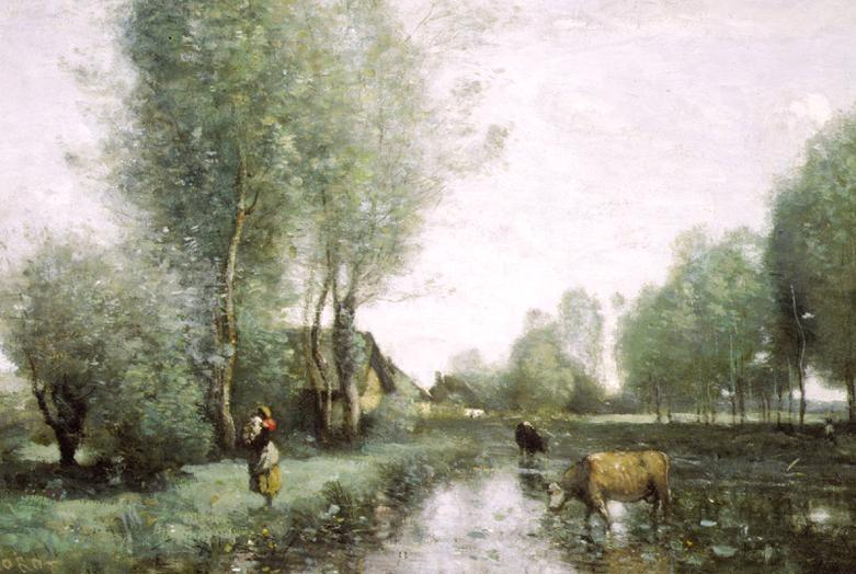 Painting of a woman with cows