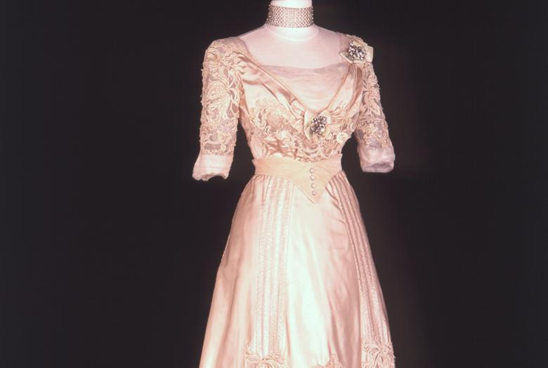A pink dress called the Golden Bowl from the Fashion in Film exhibit