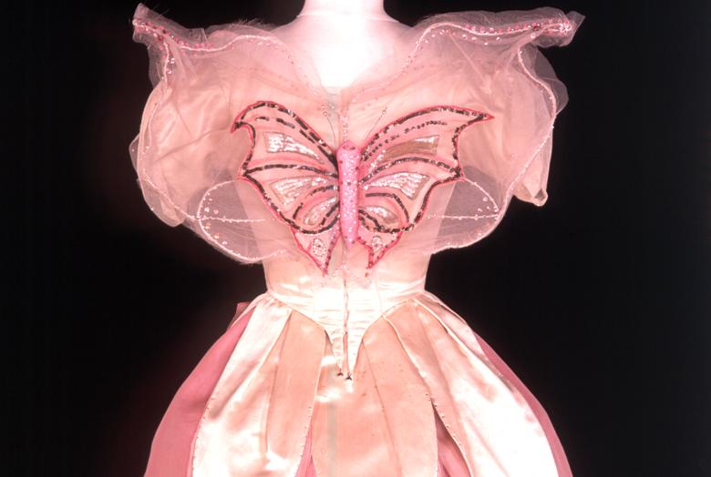 Pink dress with a butterfly on the front