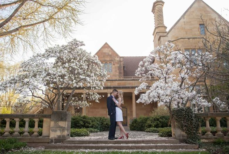Engagement Photos Amidst The White Magnolia   Paine Art Center And Gardens