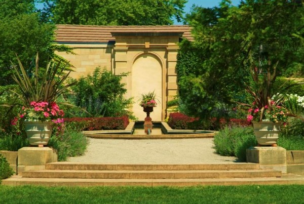 Beautiful garden with a center water feature