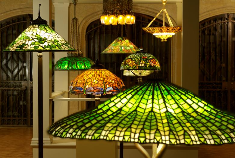 Close-up of multiple Tiffany lamps