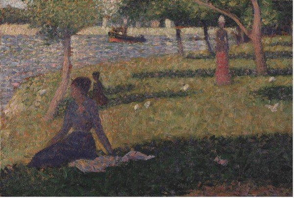 A Seurat painting of a woman sitting on grass near a lake