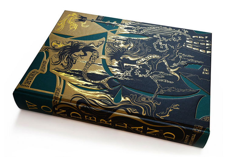 Cover of a large book with gold details