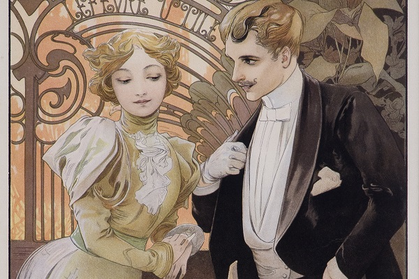 Image of a man and a woman in an Alphonse Mucha illustration