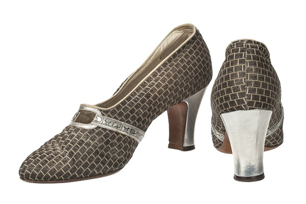 Silver shoes with metal, metallic details