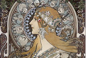 Alphonse Mucha's illustration of a woman with a crown surrounded by Zodiac images