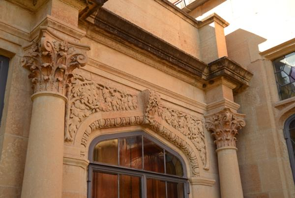 Detailed stonework on the Paine Mansion