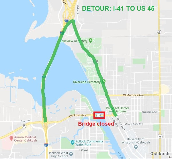 Highlighted Google Map with alternative route to 21 bridge