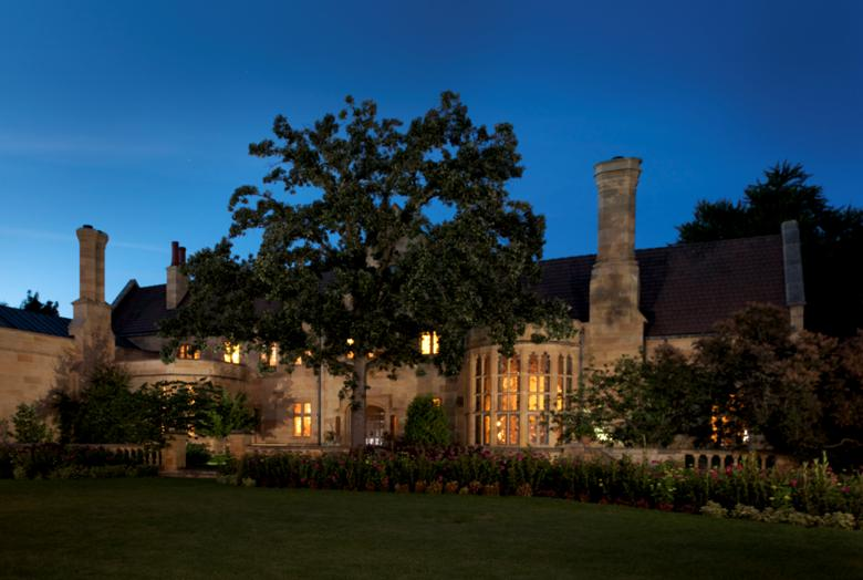 The Paine Mansion at night