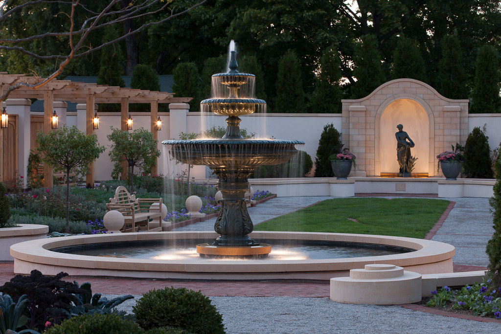 Water fountain in a courtyard at evening